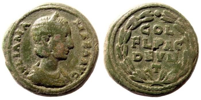 Ancient Coins - Thrace, Deultum. Julia Mamaea, mother of Alexander Severus, 222-235 AD. AE 25mm (11.80 gm). BMC-; SNG Copenhagen -; Sear-