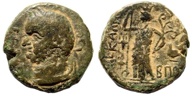 Ancient Coins - Judaea, Ascalon. Vespasian, 69-79 AD. AE 22mm (11.51 gm). Dated CY 185, 78/9 AD. RPC 2207 (same obv. die). Rare