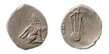 Ancient Coins - Ionia, Teos, 375-350 BC, AR Diobol (0.94 gm, 9.7 mm, 6h.). Cf. SNG Kayan 610