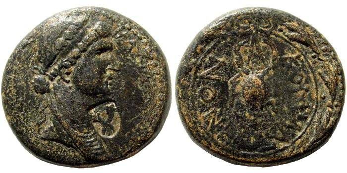 Ancient Coins - Kommagenian Kingdom. Iotape, wife of Antiochos IV. 38-72 AD. AE 25mm (15.06 gm). RPC I 3858; SNG Copenhagen 5
