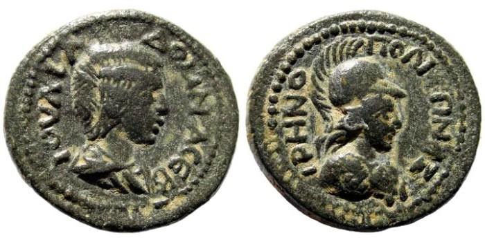 Ancient Coins - Kilikia, Eirenopolis-Neronias. Julia Domna, wife of Septimius Severus, 193-211 AD. AE 22mm (7.80 gm). Dated year 161, 212/3 AD. SNG Levante 1614 (same dies)