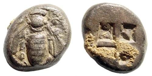 Ancient Coins - Ionia, Ephesus. Circa 500-420 BC. Silver drachm (3.63 gm, 14mm). Karwiese Series VI, 1b; Head Period I