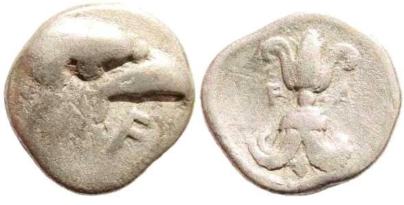 Ancient Coins - Elis, Olympia. 95th Olympiad. 400 BC. AR Hemidrachm (2.63  gm, 16mm, 9h). Cf. BCD Olympia 85/84 (same obv./rev. dies); SNG Copenhagen 372 (same dies). Very rare