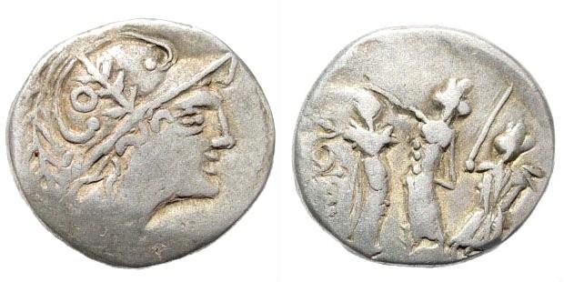Ancient Coins - Celtic, Danube Region. After 79 BC. AR Denarius (3.68 gm). Imitation of P. Laeca, after 110 BC. Castelin -; Demski -; Ziegaus -