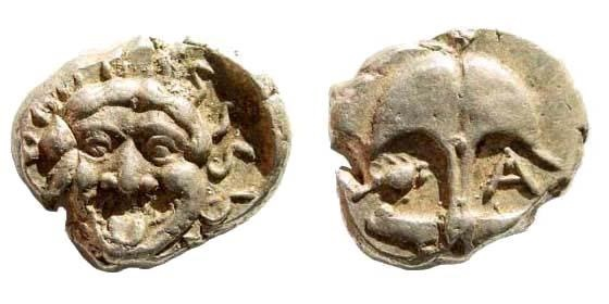 Ancient Coins - Thrace, Apollonia Pontika. Late 5th-4th centuries BC. AR Drachm (3.38 gm, 15mm). SNG BM Black Sea 157