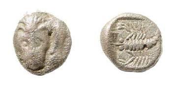 Ancient Coins - Caria, Mylasa (?). ca 450-400 BC. AR Obol (0.64 gm, 8mm). SNG Kayhan 934; SNG Copenhagen 379