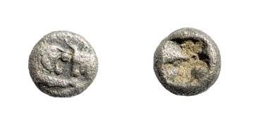 Ancient Coins - Lydian Kingdom, Sardeis. Kroisos, 561 - 546 BC. AR 1/24th Stater (0.41 gm, 11mm). SNG von Aulock 2880
