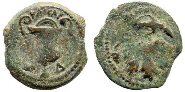 Ancient Coins - Judaea, Roman Procurators. Valerius Gratus (under Tiberius). Dated 17 AD. (1.72 gm, 16mm). Hendin 644