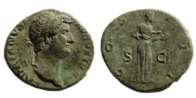 Ancient Coins - Hadrian, 117-138, Rome 125-128, Salus