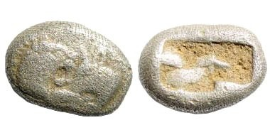 Ancient Coins - Lydia, Sardeis, Kroisos, 561 - 546 BC. AR 1/6 Stater (1.69 gm, 11mm). Rosen 667