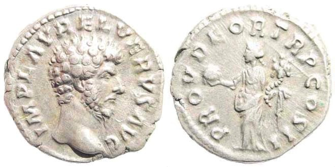 Ancient Coins - Lucius Verus, 161-169 AD. AR Denarius (3.38 gm, 17mm). Rome mint. Struck 161 AD. RIC II 463
