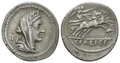Ancient Coins - C. Fabius C.f. Hadrianus, 102 BC. AR Denarius (3.56 gm, 21mm). Rome mint. Crawford 322/1a