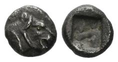 Ancient Coins - Karia, Uncertain. 5th century BC. AR Hemiobol (0.40 gm, 6mm). Apparently unpublished