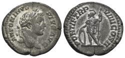 Ancient Coins - Caracalla. 198-217 AD. AR Denarius (3.32 gm, 20mm). Rome mint. Struck 206 AD. RIC IV 83