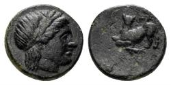 Ancient Coins - Lesbos, Nesos. Circa 350-300 BC AE 10mm (0.91 gm). SNG München 808
