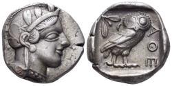Ancient Coins - Attica, Athens. Circa 454-404 BC. AR Tetradrachm (17.13 gm, 26mm). Kroll 8