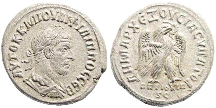 Ancient Coins - Syria, Seleucis and Pieria. Antioch. Philip I. 244-249 AD. AR Tetradrachm (12.23 gm, 27mm). Prieur 445
