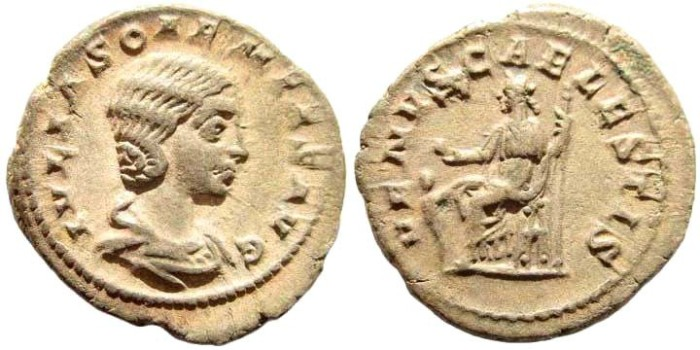 Ancient Coins - Julia Soaemias, mother of Elagabalus, Augusta, 218-222 AD. AR Denarius (3.11 gm, 20mm). Rome mint. RIC IV 243 (Elagabalus); BMCRE 55 (Elagabalus); RSC 14