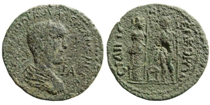 Ancient Coins - Pamphylia, Side. Valerian I. 253-260 AD. AE 32mm (15.23 mm). SNG PFPS -; BMC -; SNG von Aulock -; Nollé Nr. 39. Rare