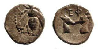 Ancient Coins - Ionia, Ephesus, 390-330 BC, Diobol (0.98 gm.). 10.5 mm. SNG Kayan 194