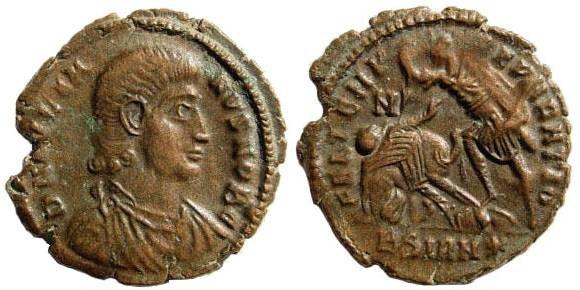 Ancient Coins - Julian II Caesar, 355-361 AD. AE 19mm (2.57 gm). Sirmium mint. LRBC 1614