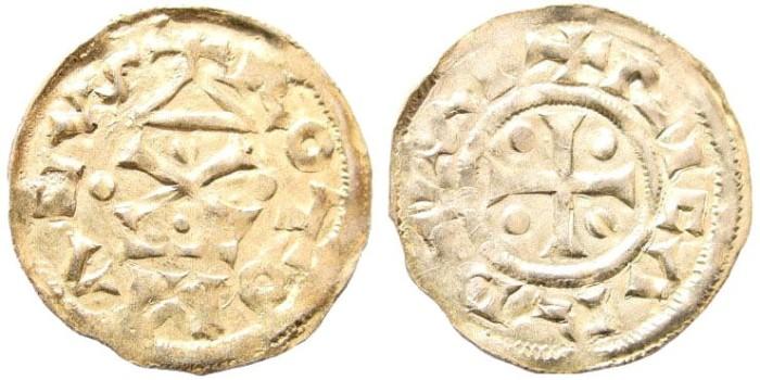 Ancient Coins - France, Normandy, Rouen. Richard I, 943 - 996. AR Denier (1.32 gm, 21mm). Fécamp, 21; D., 17
