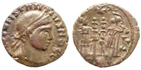 Ancient Coins - Barbaric Imitation of Constantius II Caesar, 324-337 AD. AE 3/4 (1.66 gm, 16mm). Two soldiers standing facing with two standards, cross above