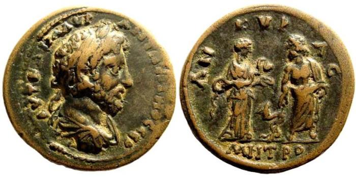 Ancient Coins - Galatia, Ankyra. Marcus Aurelius, 161-180 AD. AE 32mm (19.03 gm). RPC Online -; SNG BN Paris – (cf. 2452 same obverse die)