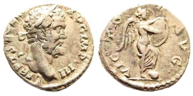 Ancient Coins - Septimius Severus, 193-211 AD. AR Denarius (2.98 gm, 17mm). Laodicea mint, 196/7 AD. Cf. RIC 486