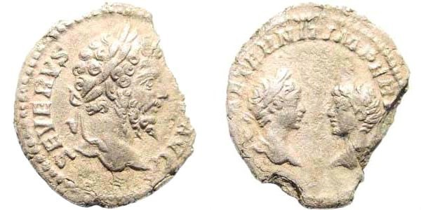 Ancient Coins - Septimius Severus, Caracalla, and Geta, as Caesar. 193-211 AD. AR Denarius (1.82 gm, 19mm). Rome mint, 201-202 AD. RIC IV 252; BMCRE 308; RSC 7