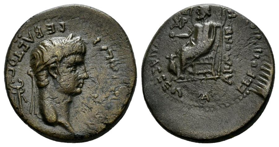 Ancient Coins - Phrygia, Akmoneia. Nero. 54-68 AD. AE 19mm (3.94 gm). L. Servinius Capito & Iulia Severa. RPC I 3174