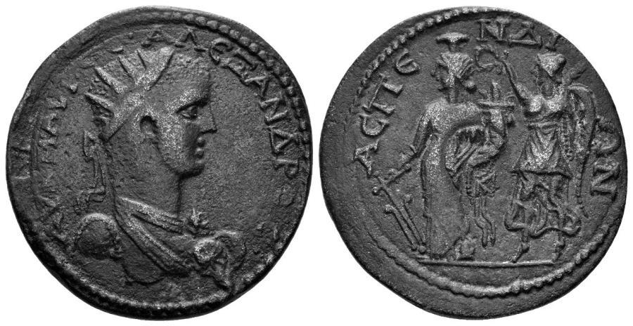 Ancient Coins - Pamphylia, Aspendus. Severus Alexander. 222-235 AD. AE Hexassarion (15.80 gm, 33mm). RPC VI online 6284 = SNG Righetti 1249 (same dies)