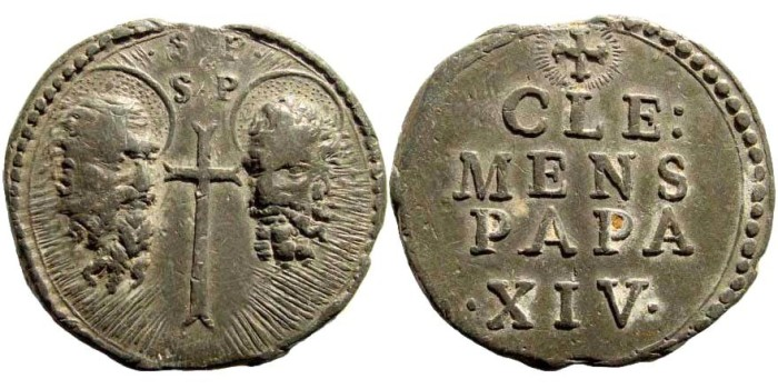 Ancient Coins - Italy, Papal States. Clement XIV (Lorenzo Ganganelli), 1769-1774. PB Bulla (44mm)