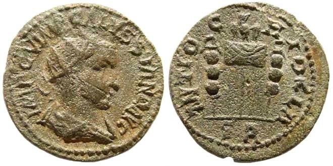 Ancient Coins - Pisidia, Antioch. Volusian, 251-253 AD. AE 23mm (8.02 gm). SNG France 1310 (same obv. die). Ex Karbach collection