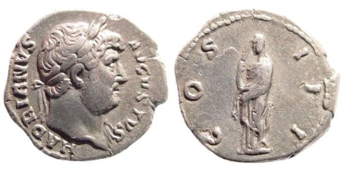 Ancient Coins - Hadrian, 117–138 AD. AR denarius (3.3 gm, 19mm). Rome mint, 125 AD. BMCRE 405. RIC 176. RSC 392. Hill 272