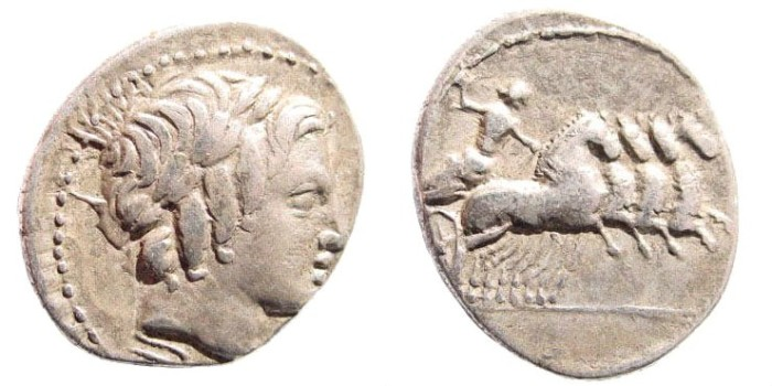 Ancient Coins - Anonymous. Circa. 86 BC. AR denarius (3.5 gm, 20mm). Rome. Crawford 350A2. Sydenham 723. RSC Anonymous 226