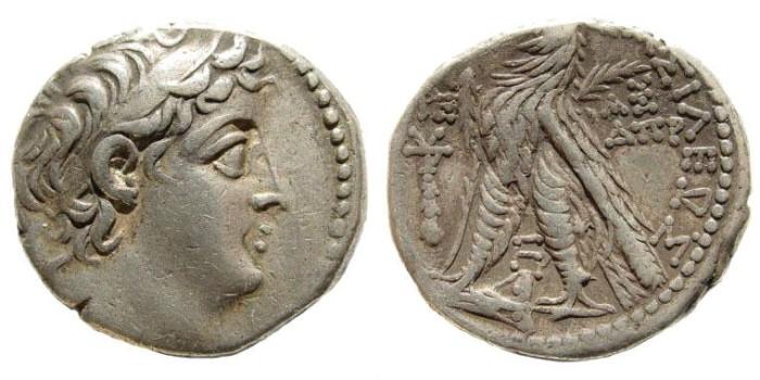 Ancient Coins - Syria, Seleukid Kings. Demetrios II. Second Reign, 130-125 BC. AR Tetradrachm (13.83 gm, 28mm). Tyre mint. Year 187 (126/125 BC). SNG Spaer 2226