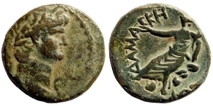 Ancient Coins - Syria, Coele-Syria. Damascus. Nero, 54-68AD. AE 23mm (11.83 gm). Dated year 377, 65/6 AD. RPC I 4803