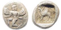 Ancient Coins - Karia, Kaunos. Circa 490-470 BC. AR Trihemiobol (1.43 gm, 10.5mm). Konuk 56