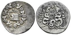 Ancient Coins - Mysia, Pergamon. Circa 166-67 BC. AR Tetradrachm (12.48 gm, 27mm). Cistophoric type. Struck circa 85-76 BC. SNG France 1740 var