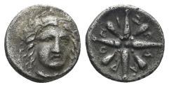 Ancient Coins - Karian Satraps. Pixodaros. Circa 341/0-336/5 BC. AR Trihemiobol (0.80 gm, 10mm). Halikarnassos mint. SNG Keckman 281