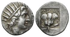 Ancient Coins - Karia, Islands off. Rhodes. Circa 125-88 BC. AR Drachm (2.68 gm, 16mm). Antaios magistrate. Jenkins, 128