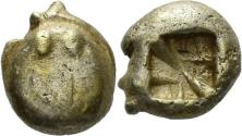 Ancient Coins - Ionia, Uncertain. Circa 600-550 BC. EL Hemihekte - Twelfth Stater (1.12 gm, 7mm). Lydo-Milesian standard. Rare