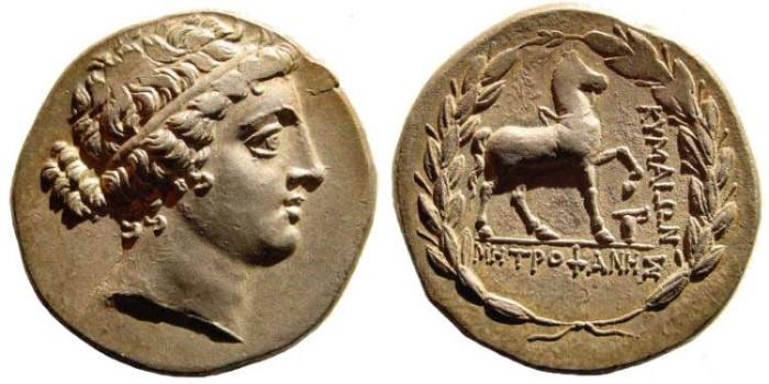 Ancient Coins - Aeolis, Kyme. Circa 165-140 BC. AR Tetradrachm (16.83 gm). Metrophanes, magistrate. SNG Copenhagen 104