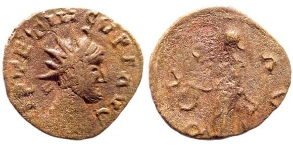 """Ancient Coins - Tetricus I, 270-273 AD. AE """"Barbarous imitation"""" Antoninianus (1.0 gm, 16mm). Laetitia"""