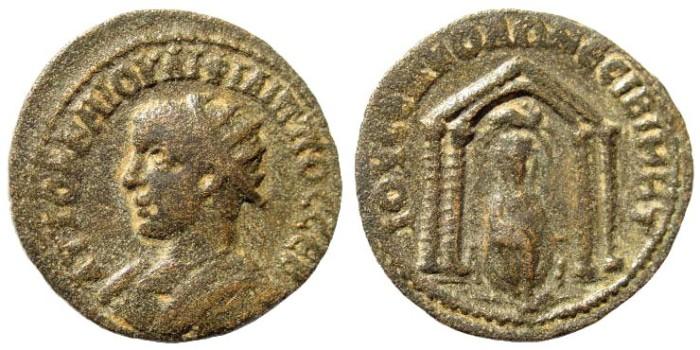 Ancient Coins - Mesopotamia, Nisibis. Philip II, 247-249 AD. AE 25mm (8.35 gm). SNG Copenhagen -; BMC -