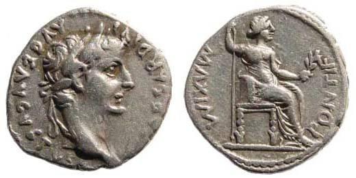 "Ancient Coins - Tiberius 14-37 AD. AR Denarius ""Tribute Penny"" (3.65 gm). Lugdunum (Lyon) mint. RIC I 30; BN 34; RSC 16a"