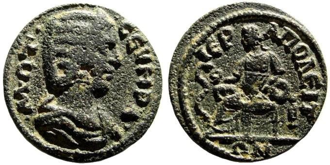 Ancient Coins - Phrygia, Hierapolis. Otacilia Severa, wife of Philip I, 244-249 AD. AE 23mm (4.81 gm). BMC 153