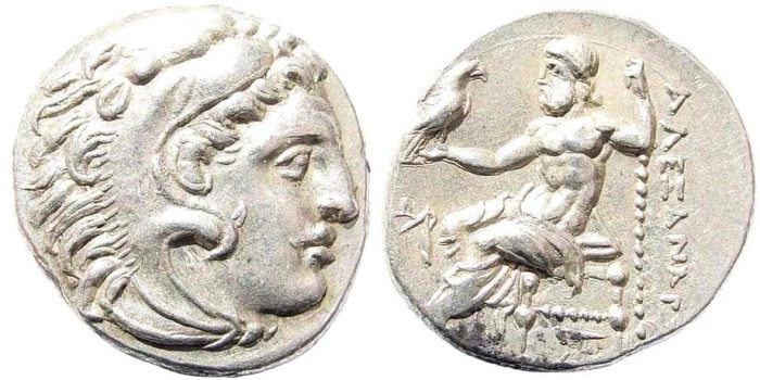 Ancient Coins - Macedonian Kingdom. Alexander III 'the Great', 336-323 BC. AR Drachm (4.20 gm, 18mm). Erythrai mint. Struck 290-275 BC. Price -; Hersch -; Arena -. Impressive
