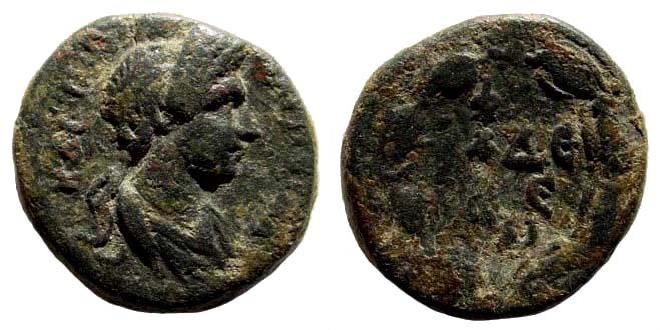Ancient Coins - Lydia, Philadelphia. Plotina, wife of Trajan, Augusta, 105-122 AD. AE 18mm (5.06 gm). BMC Lydia p. 198, 70; SNG Copenhagen 382